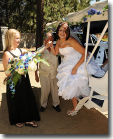 Bride stepping down from carriage