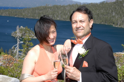 Champagne toast as husband and wife