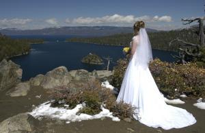 Bride overlooking Emerald Bay