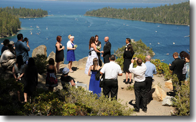 A wedding in progress on the bluff over the bay