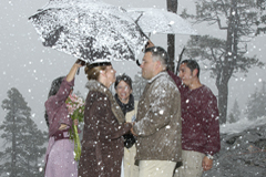 A winter wedding during a snow strom at Emerald Bay
