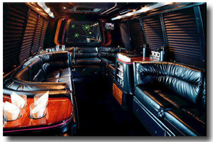Interior view of the limousine shuttle coach
