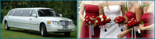 Limousine and bridal flowers photo montage