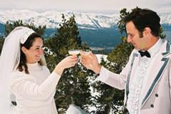 Newlyweds celebrating their new marriage with a champagne toast