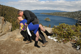 The groom dips his bride