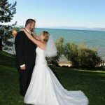Bride wraps her arms around her groom