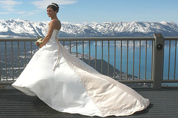 Displaying her beautiful gown atop the midway observation deck at Heavenly Mountain