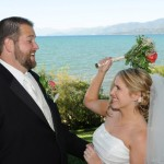 Bride pretends to reprimand the groom