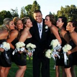 All the girls surround the groom