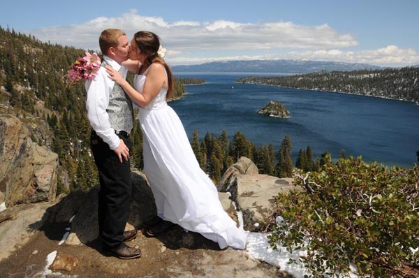 The first kiss takes place on the bluff of Emerald Bay