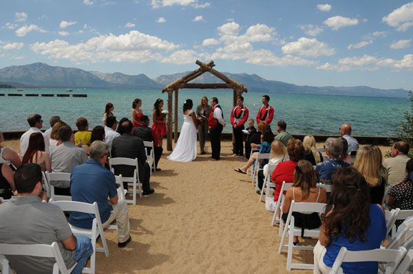 Ceremony in progress at Lakeside Beach