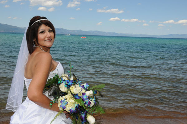 Bride looking back at the camera