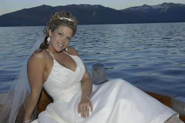 Relaxing on the boat after her wedding