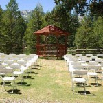 Typical setup for a gazebo wedding at Tahoe Paradise Park