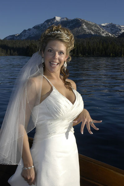 Bride displays her wedding ring