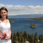 Bride standing on the bluff