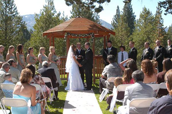 A wedding in progress at the gazebo