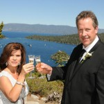 Husband and wife toast to their new life together