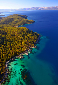 An aerial view of the shoreline of Tahoe