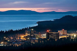 A night scene of the central area of South Lake Tahoe