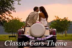Newlyweds exiting the reception after their classic car themed wedding