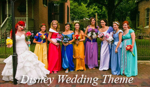 The bridal party during a Disney themed wedding