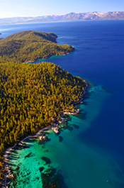 Beautiful inflight view of the Tahoe shoreline