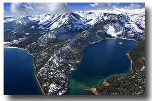Scenic aerial view of Emerald Bay