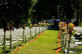 The outdoor ceremony area setup with chairs