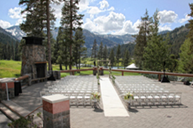 The outdoor ceremony area is setup for a wedding