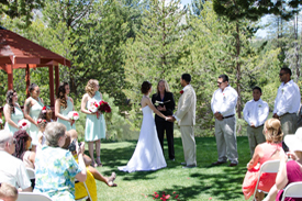 Ceremony occurring next to the gazebo