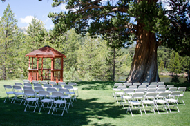 Typical arrangement of chairs in the ceremony area