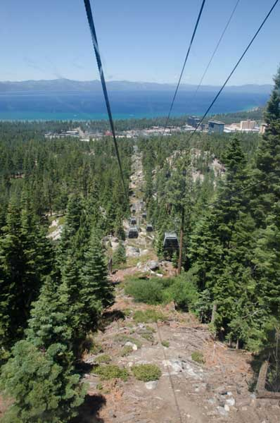 Elevated view of the lake as seen from the Heavenly gondola car