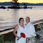 Newlyweds pause for a sunset photo at Zephyr Cove