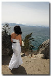 Bride checking out the view at Logan Shoals