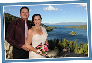 Bride and groom at Emerald Bay with Fannette Island in the background