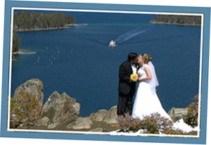 Kissing couple on the bluff of Emerald Bay