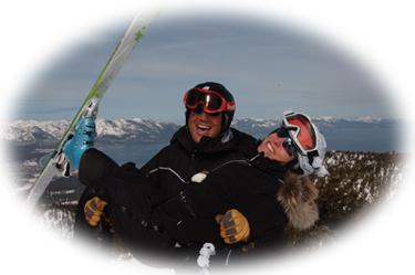 Groom holding bride on skis
