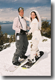 Husband and wife after ski ceremony