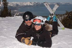 Bride and groom at Heavenly Mountain