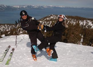 Newlyweds on Heavenly Mountain after wedding