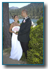 Bride and groom holding the bouquet