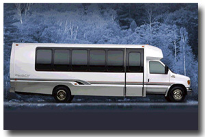Exterior view of limo coach