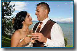 Newly wedded husband and wife having a champagne toast together
