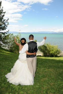 Regan Beach couple saluting Lake Tahoe
