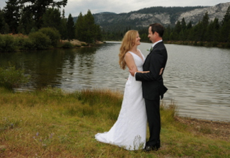 Couple and Lake Baron at Tahoe Paradise Park