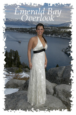 Bride standing on rock at Emerald Bay