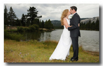Couple married in front of Lake Baron
