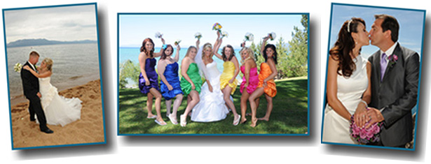 Montage of various wedding locations situated around the lake