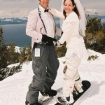Just married on skis